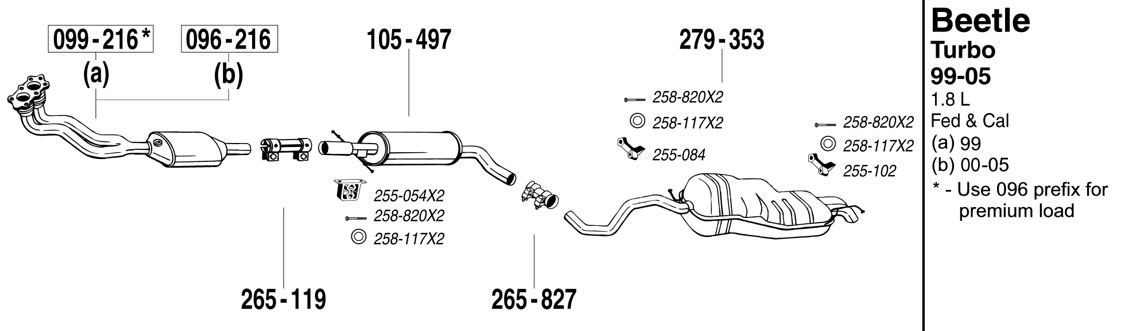 beetle exhaust 1999 2005 1 8 turbo at evwparts autozone at 99 Jetta Exhaust Diagram