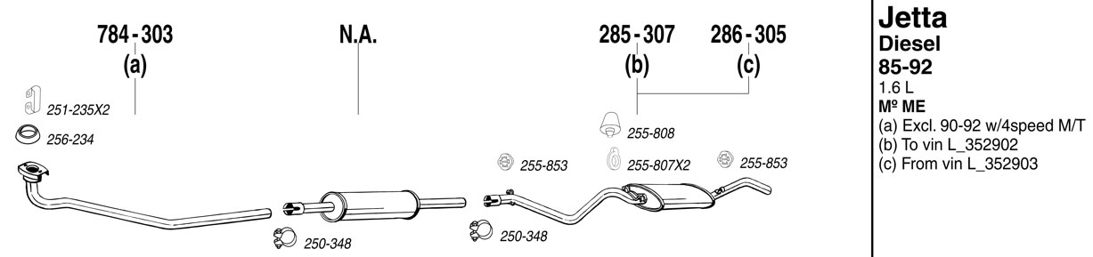 Jetta Exhaust System Parts At Evwparts