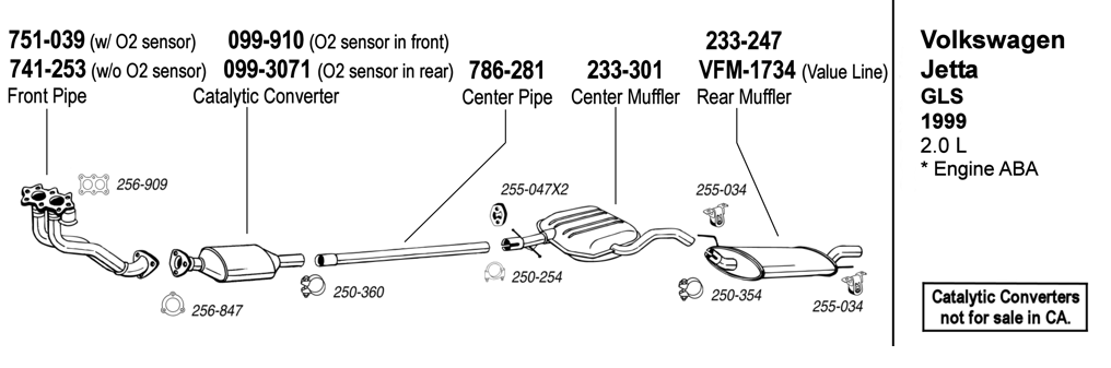 jetta gls 1999 2 0l at evwparts 2000 vw jetta 2.0 exhaust system at 99 Jetta Exhaust Diagram