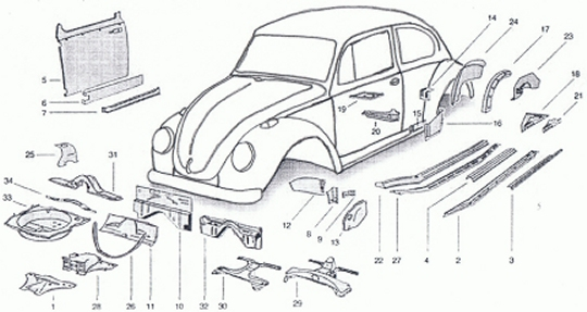 beetle up to 1967 rust repair panels at evwparts rh evwparts com VR6 Engine Diagram Volkswagen Jetta 2.0 Engine Diagram